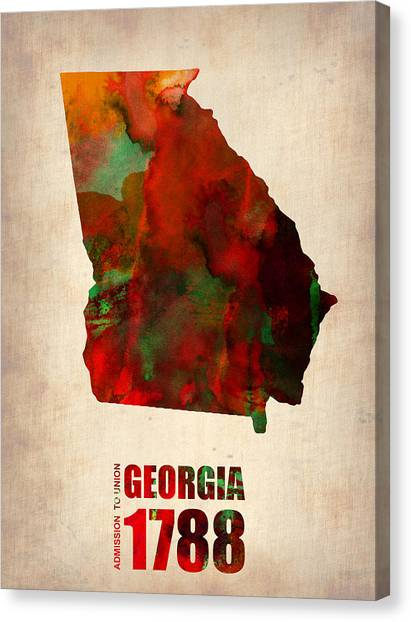 Georgia Canvas Print - Georgia Watercolor Map by Naxart Studio