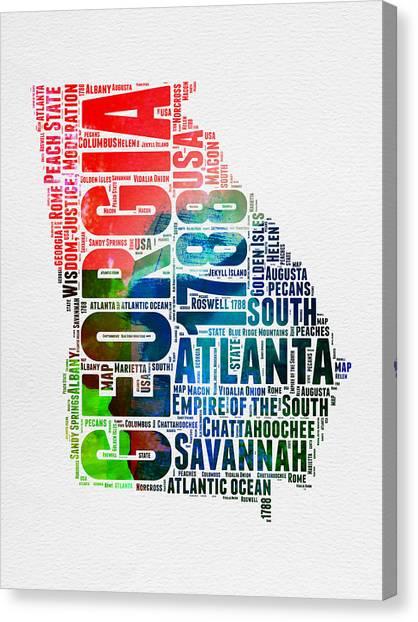 Georgia Canvas Print - Georgia Watercolor Word Cloud Map  by Naxart Studio
