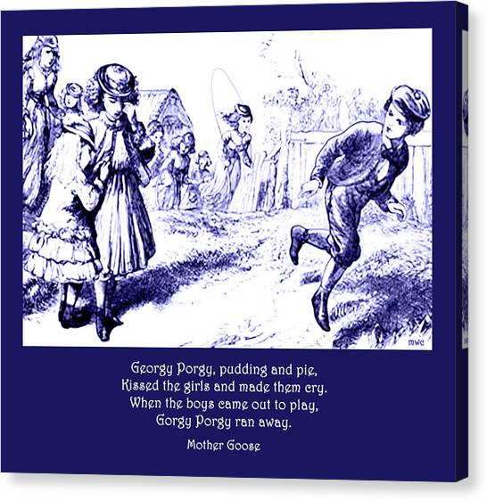 Canvas Print featuring the painting Georgy Porgy Mother Goose Illustrated Nursery Rhyme by Marian Cates