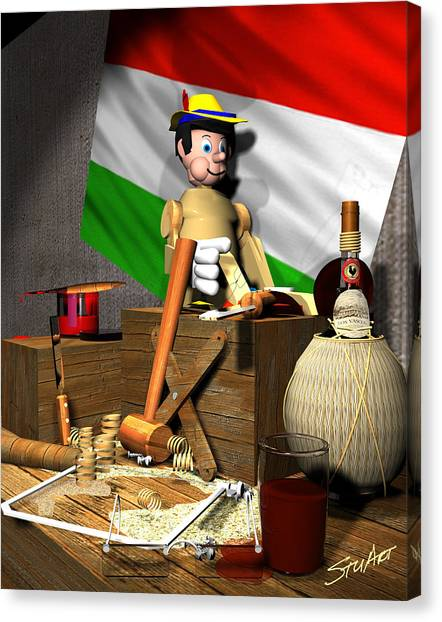 Geppettos Workbench-the Creation Of Pinocchio Canvas Print