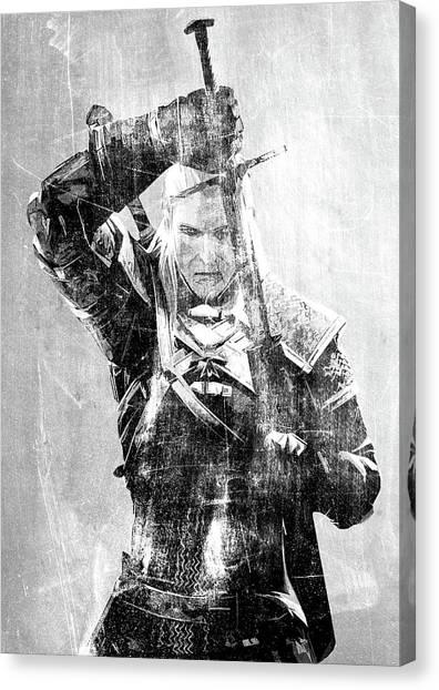 Playstation Canvas Print - Geralt Of Rivia by Semih Yurdabak