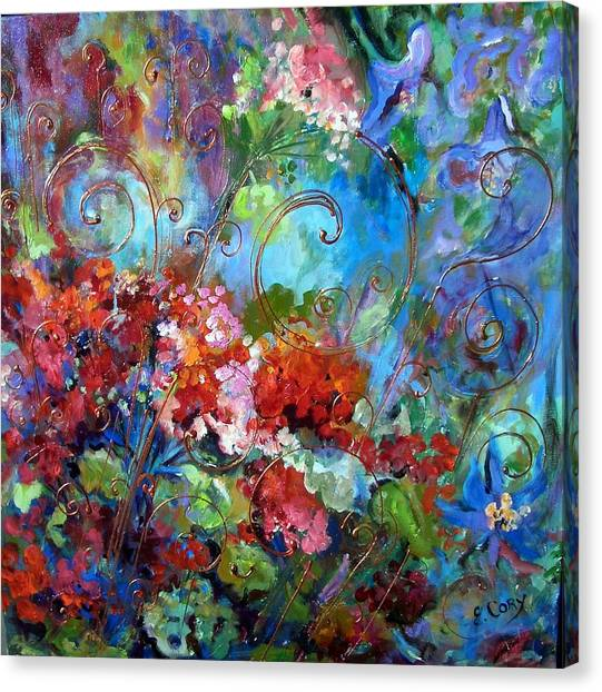 Geranium Garden Canvas Print by Elaine Cory