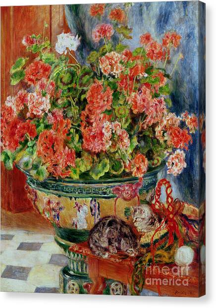 Pierre-auguste Renoir Canvas Print - Geraniums And Cats by Pierre Auguste Renoir