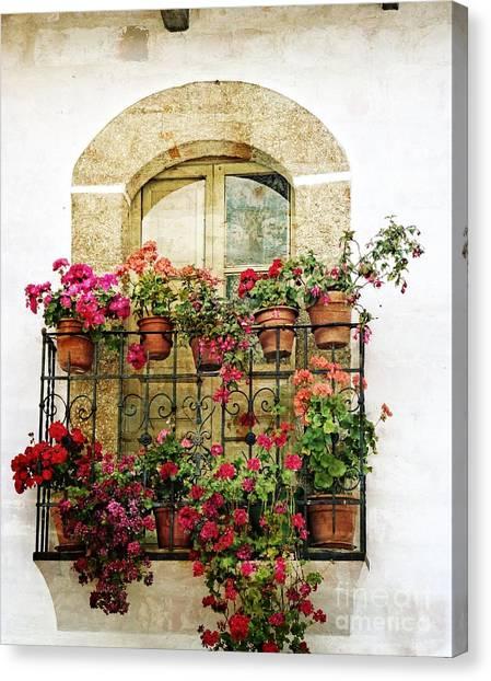 Geraniums On Balcony Canvas Print