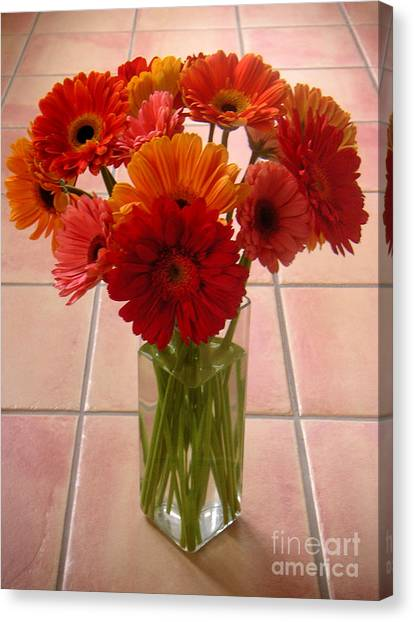 Gerbera Daisies - On Tile Canvas Print by Lucyna A M Green
