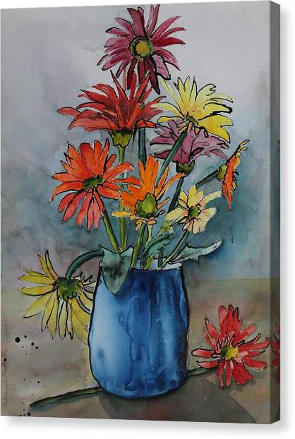Gerberas In A Blue Pot Canvas Print