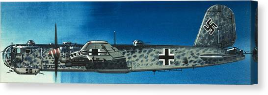 Blue Camo Canvas Print - German Aircraft Of World War  Two Focke Wulf Condor Bomber by Wilf Hardy