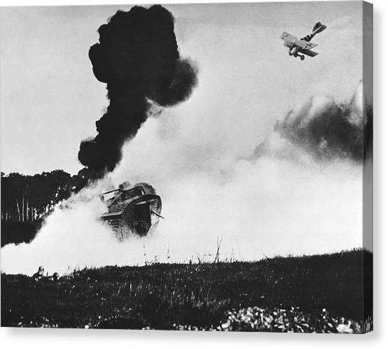 Pollution Canvas Print - German Biplane Attacks Tank by Underwood Archives