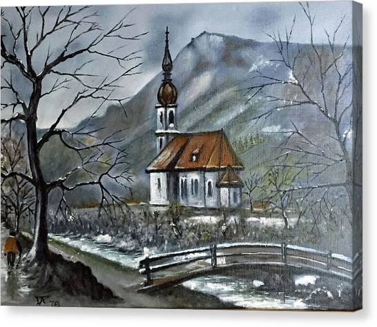 German Church At Ramsau  Canvas Print