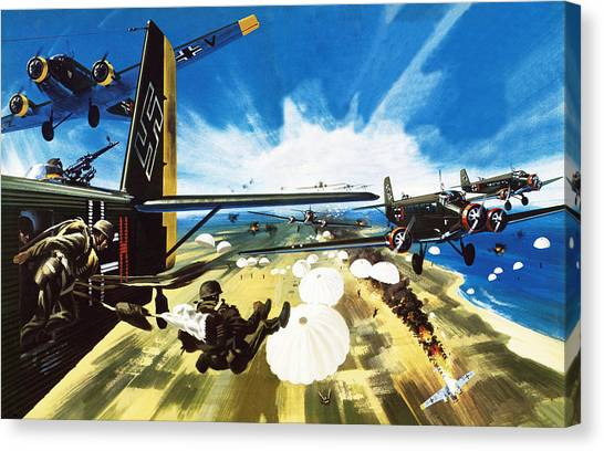 Wii Canvas Print - German Paratroopers Landing On Crete During World War Two by Wilf Hardy