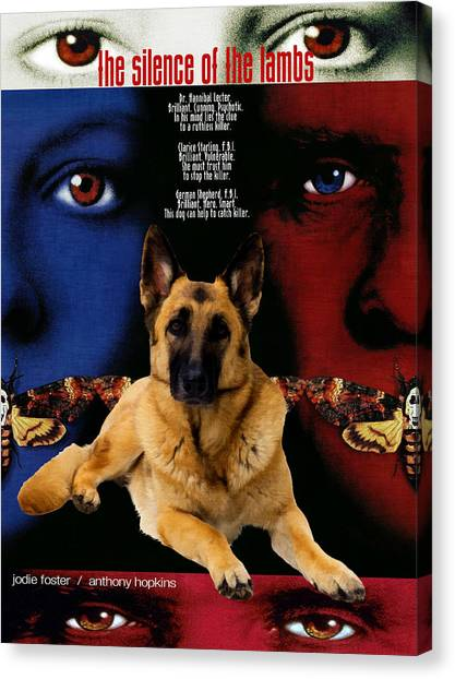Silence Of The Lambs Canvas Print - German Shepherd Art Canvas Print - The Silence Of The Lambs Movie Poster by Sandra Sij
