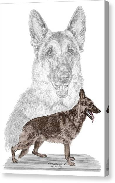 German Shepherd Art Print - Color Tinted Canvas Print