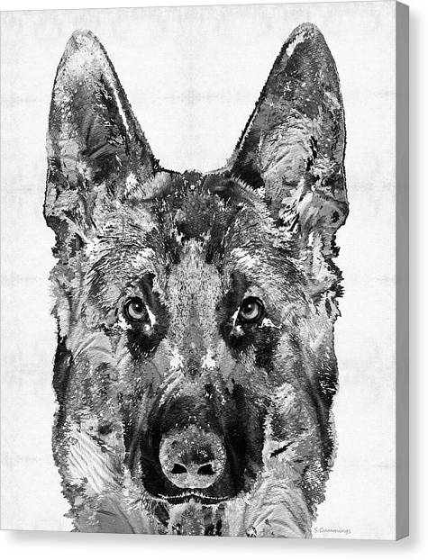 German Shepherds Canvas Print - German Shepherd Black And White By Sharon Cummings by Sharon Cummings
