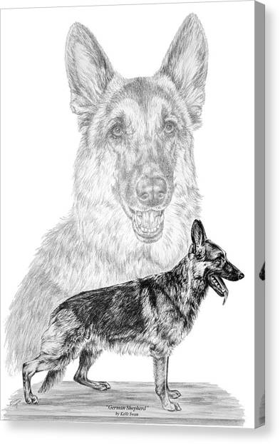 German Shepherd Dogs Print Canvas Print