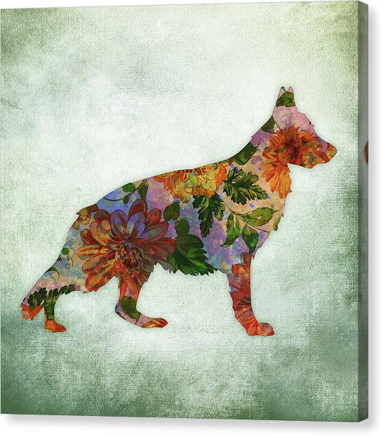 German Shepherds Canvas Print - German Shepherd Floral On Green by Flo Karp