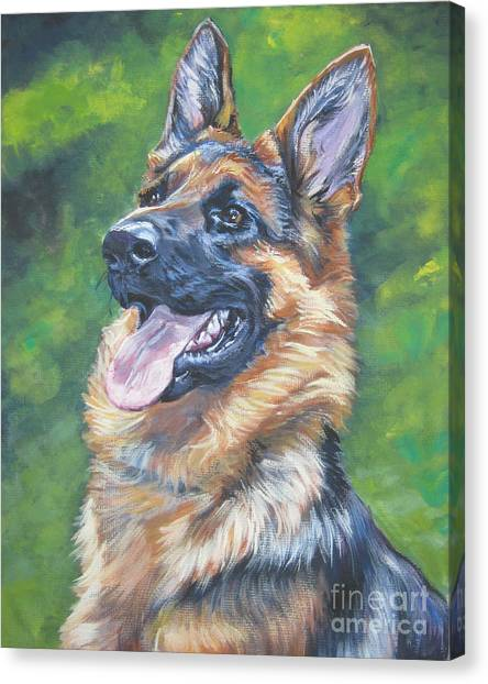 German Shepherds Canvas Print - German Shepherd Head Study by Lee Ann Shepard
