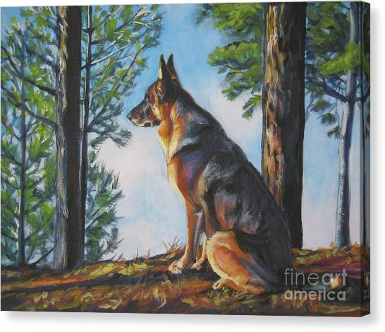 German Shepherds Canvas Print - German Shepherd Lookout by Lee Ann Shepard