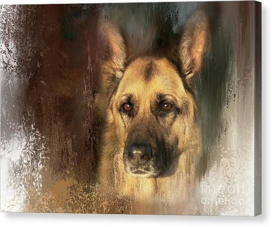 German Shepherd Portrait Color Canvas Print