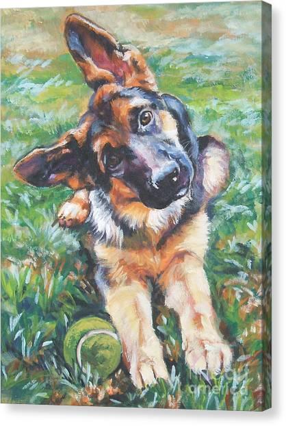 Puppies Canvas Print - German Shepherd Pup With Ball by Lee Ann Shepard