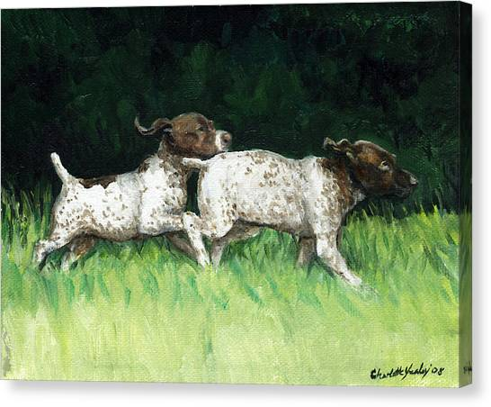 German Shorthaired Pointer Pups Canvas Print