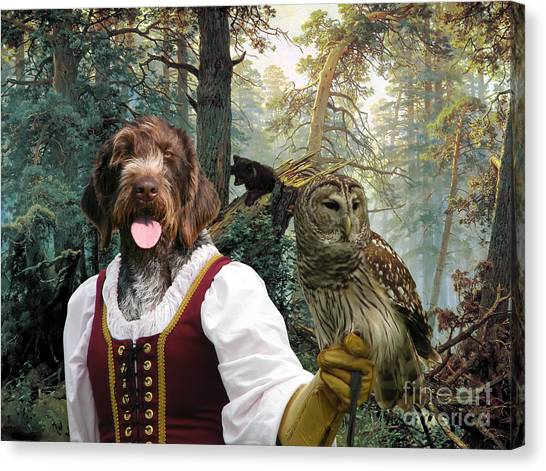 German Wirehaired Pointer Art Canvas Print - Lady Owl And Little Bears Canvas Print