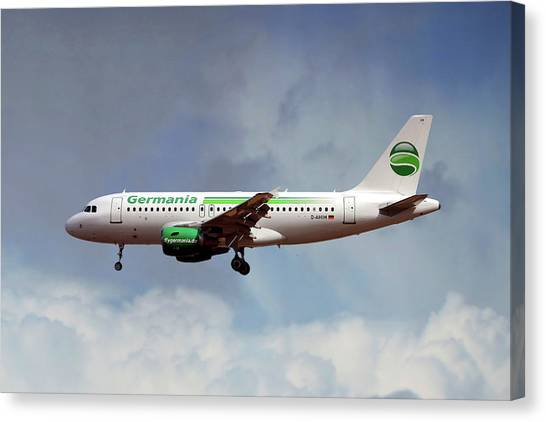 Airlines Canvas Print - Germania Airbus A319-112 by Smart Aviation