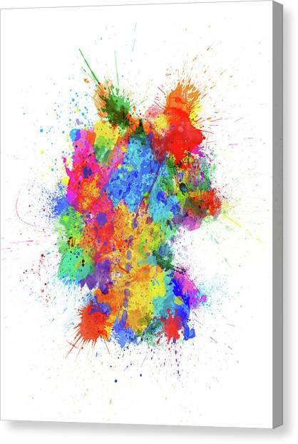 Deutschland Canvas Print - Germany Paint Splashes Map by Michael Tompsett