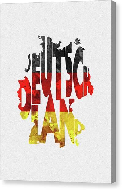 Deutschland Canvas Print - Germany Typographic Map Flag by Inspirowl Design