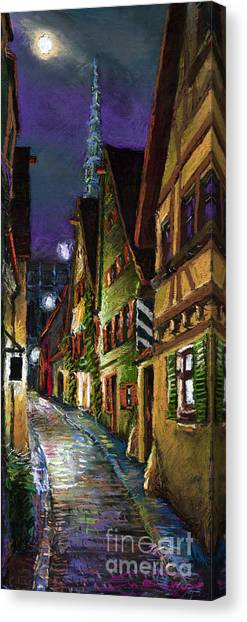 German Canvas Print - Germany Ulm Old Street Night Moon by Yuriy Shevchuk