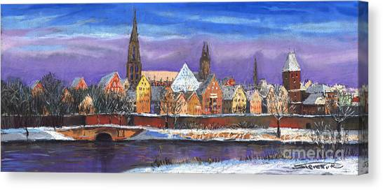 German Canvas Print - Germany Ulm Panorama Winter by Yuriy Shevchuk
