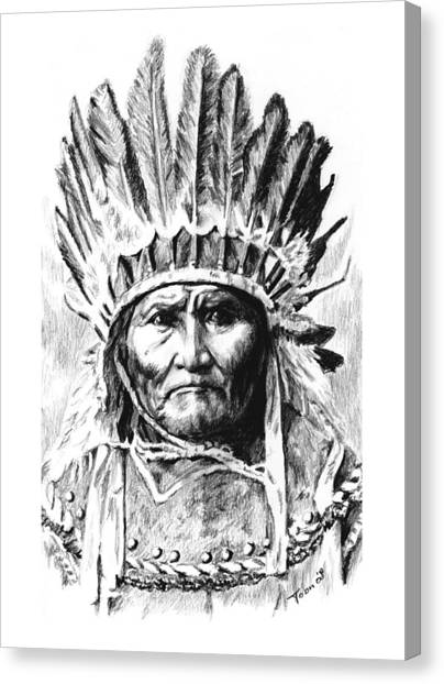 Geronimo With Feathers Canvas Print