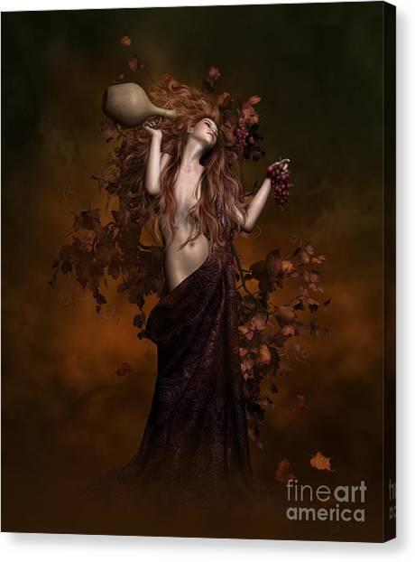 Wine Bottles Canvas Print - Geshtinanna Goddess Of Grape Vine by Shanina Conway