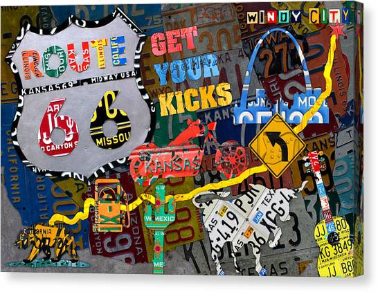 Southwest Canvas Print - Get Your Kicks On Route 66 Icons Along The Highway Recycled Vintage License Plate Art by Design Turnpike