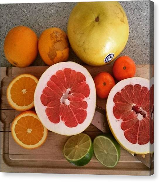 Grapefruits Canvas Print - Getting My #natural #vitaminc #fruit by Natalie Mean