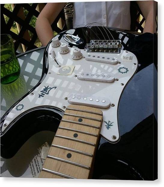 Stratocasters Canvas Print - Getting Some Tats On The Strat  #rock by Alessandro Conte