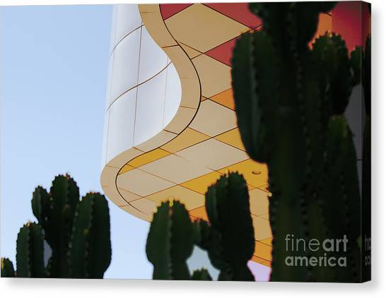 J Paul Getty Canvas Print - Getty Architecture Cactus Color Curves  by Chuck Kuhn
