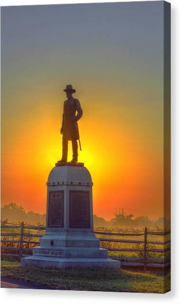 Army Of The Potomac Canvas Print - Gettysburg 13th Vermont Infantry Morning Sunrise by Randy Steele