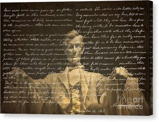 Lincoln Memorial Canvas Print - Gettysburg Address by Diane Diederich