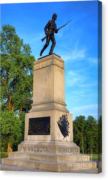 Confederate Army Canvas Print - Gettysburg National Park 1st Minnesota Infantry Memorial by Olivier Le Queinec