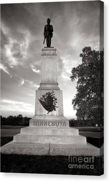 Volunteer Infantry Canvas Print - Gettysburg National Park 1st Minnesota Infantry Monument by Olivier Le Queinec