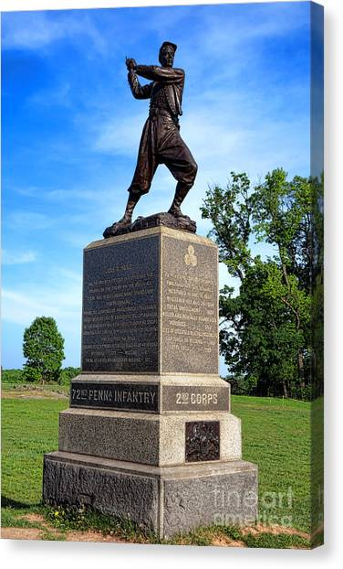 Philadelphia Union Canvas Print - Gettysburg National Park 72nd Pennsylvania Infantry Memorial by Olivier Le Queinec