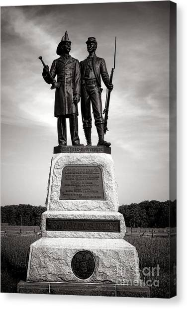 Volunteer Firefighter Canvas Print - Gettysburg National Park 73rd Ny Infantry 2nd Fire Zouaves Monument by Olivier Le Queinec