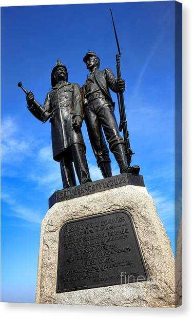 Volunteer Firefighter Canvas Print - Gettysburg National Park 73rd Ny Infantry Second Fire Zouaves Memorial by Olivier Le Queinec