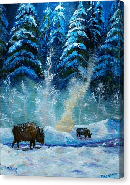 Geysers And Bison Canvas Print