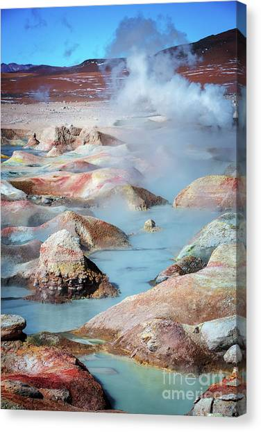 Andes Mountains Canvas Print - Geysers Sol De Manana, Bolivia by Delphimages Photo Creations