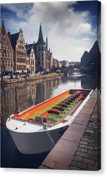 Gent Canvas Print - Ghent By Boat by Carol Japp