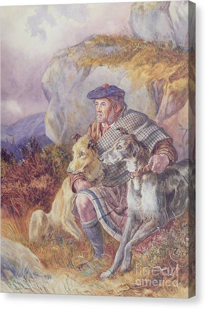 Plaid Canvas Print - Ghillie And Deerhounds by Richard Ansdell