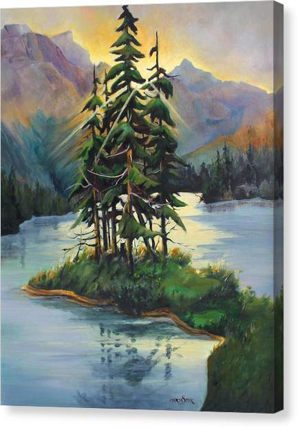 Ghost Island Near Jasper Canvas Print by Marta Styk