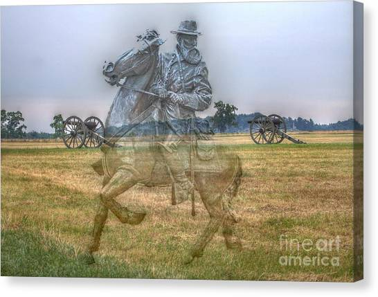 Confederate Army Canvas Print - Ghost Of Gettysburg by Randy Steele
