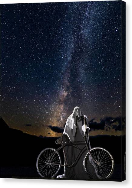 Ghost Rider Under The Milky Way. Canvas Print